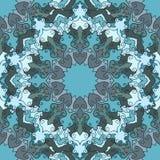 O azul brilhante coloriu o fundo sem emenda abstrato floral decorativo do mão-desenho com muitos detalhes para o projeto do lenço ilustração royalty free