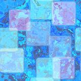 O azul brilhante manchou o fundo da telha com quadro do pergaminho na beira com textura do vintage Foto de Stock Royalty Free