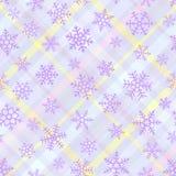 O azul brilhante sem emenda coloriu o teste padrão de cruzar listras diagonais e os flocos de neve brancos ilustração royalty free