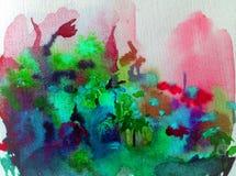 O azul cor-de-rosa colorido fresco da natureza do fundo da arte da aquarela floresce o amor romântico delicado do prado ilustração do vetor