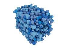 O azul cuba 3D Isolado no fundo branco ilustração stock