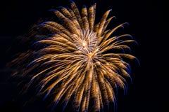 O azul da celebração dos fogos-de-artifício do fogo de artifício crava explosões do branco do ouro Fotografia de Stock