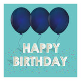 O azul do feliz aniversario balloons confetes minúsculos Foto de Stock