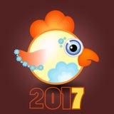 O azul do galo floresce um calendário do símbolo de 2017 na ilustração do vetor do fundo de Borgonha Fotos de Stock Royalty Free