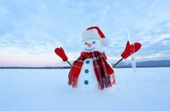 O azul eyed o boneco de neve de sorriso no chapéu vermelho, luvas e o lenço da manta mantém o sincelo disponivel Manhã fria alegr foto de stock