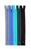 O azul fecha zippers Fotografia de Stock Royalty Free