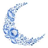 O azul floresce o ornamento popular bonito da porcelana floral do russo Imagem de Stock