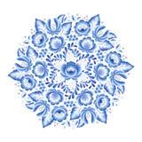O azul floresce o ornamento popular bonito da porcelana floral do russo ilustração do vetor