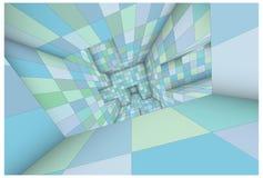 o azul futurista do verde do labirinto 3d protegeu o illust do interior do vetor Imagem de Stock Royalty Free