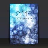 O azul gelado tamborilou o projeto cintilante do cartão, do inseto ou da tampa do ano novo - 2018 ilustração royalty free