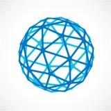 O azul lapidou a esfera criada dos triângulos, sphe dimensional do vetor ilustração do vetor