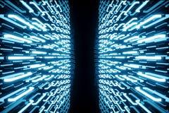 o azul-matiz da rendição 3D iluminou o corredor com luz de néon azul Luz de néon futurista elegante na parede Fotografia de Stock Royalty Free