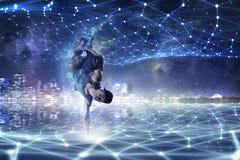 o B-menino que executa algum move-se Meios mistos Imagem de Stock Royalty Free