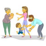 O baby-sitter com a criança encontra o mum e o pai Foto de Stock