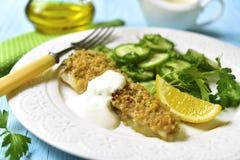 O bacalhau cozeu com os pães ralados do alho decorados com salada do pepino Imagem de Stock Royalty Free