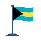 O Bahamas embandeira isolado no fundo branco Imagens de Stock Royalty Free
