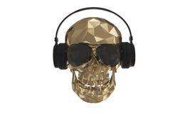 O baixo crânio poli dourado DJ com fundo branco Foto de Stock
