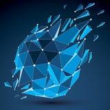 o baixo objeto poli do vetor 3d com azul conectou as linhas e os pontos, ge Fotografia de Stock
