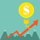 O balão do dinheiro levanta gráficos Foto de Stock Royalty Free