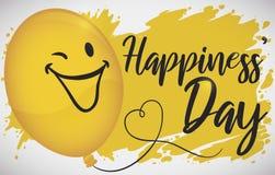 O balão feliz sobre o amarelo chapinha a comemoração do dia das felicidades, ilustração do vetor ilustração royalty free