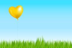 O balão gosta como Sun acima da grama. Vetor Imagem de Stock Royalty Free