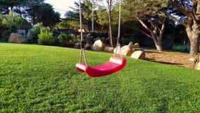 O balanço das crianças vermelhas em um fundo da grama verde no jardim video estoque