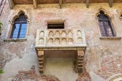 O balcão famoso de Juliet Capulet Home em Verona fotografia de stock