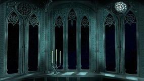 O balcão gótico no castelo velho 3d rende o fundo Imagem de Stock
