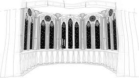 O balcão gótico no castelo velho 3d rende o fundo animado dado laços vídeos de arquivo