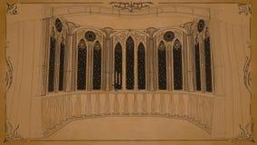 O balcão gótico no castelo velho 3d rende o fundo animado dado laços filme