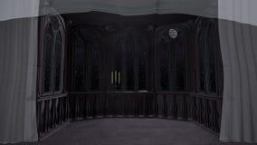 O balcão gótico no castelo velho 3d rende o fundo animado filme