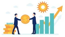 O banco aprovou o empréstimo ao homem de negócios negócios novos de ajuda dinheiro, gestão de investimento dos cartões gráfico imagem de stock