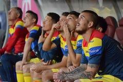 O banco da substituição da equipe de futebol de Romênia Fotos de Stock Royalty Free