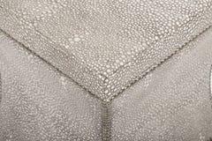 O banco de Carlaw, Suzie Bench, a parte superior caracteriza um assento de couro parte-costurado cego-adornado, dobro, claro - so imagem de stock