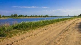 O banco de rio nos juncos que crescem o bastão, estrada arenosa ao longo do rio Fotografia de Stock