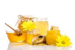 O banco do mel com favos de mel, bacia de vidro com mel Imagens de Stock