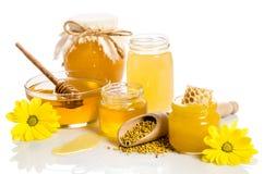 O banco do mel com favos de mel, bacia de vidro com mel Imagem de Stock Royalty Free