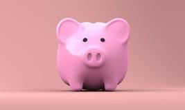 O banco Piggy cor-de-rosa 3D rende 002 Imagens de Stock Royalty Free