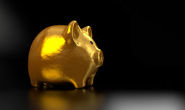 O banco Piggy dourado 3D rende 007 Fotografia de Stock Royalty Free