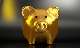 O banco Piggy dourado 3D rende 009 Imagens de Stock