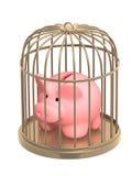 O banco Piggy fechou-se em uma gaiola Imagens de Stock