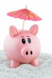O banco Piggy vai em férias Foto de Stock