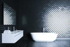 O banheiro do minimalismo no interior preto 3D rende a versão 2 Fotos de Stock Royalty Free