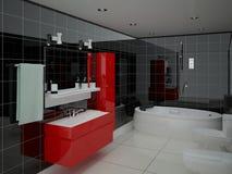 O banheiro espaçoso moderno Ilustração Royalty Free