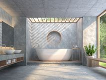 O banheiro moderno do estilo do sótão com o 3d concreto lustrado rende Foto de Stock Royalty Free