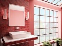 O banheiro vermelho 3d interior rende Foto de Stock Royalty Free