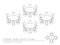 O banquete da configuração da disposição da instalação da sala de reunião arredonda o estilo Foto de Stock Royalty Free