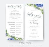 O banquete de casamento floral do casamento & o projeto de cartão do programa da cerimônia com a hortênsia azul elegante floresce Imagem de Stock