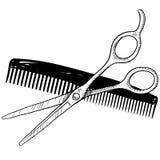 O barbeiro utiliza ferramentas o esboço Imagem de Stock