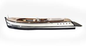 O barco de madeira do vintage com volante e painel isolou o Foto de Stock Royalty Free